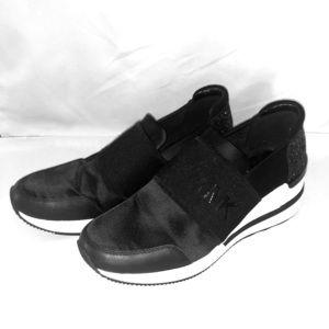 Micheal kors black glitter wedge slip on sneaker